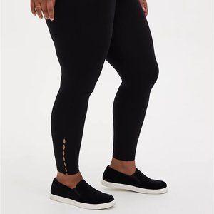 Plus Size Black Leggings  MINI CUTOUTS BLACK 3X